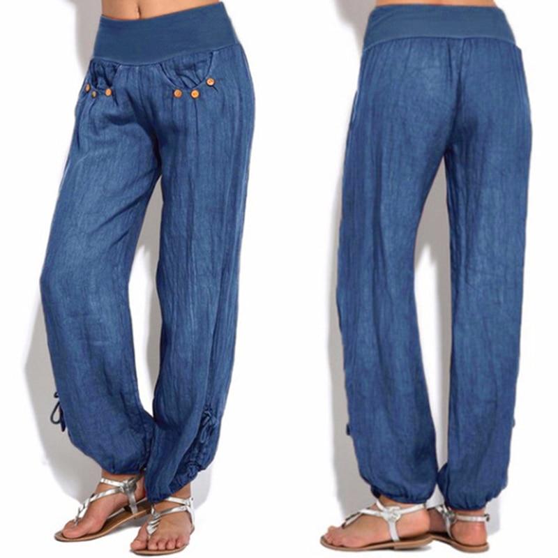 2019 Pants New Women Loose High Waist Cotton Linen Harem Pants Solid Women Summer Autumn Fashion Casual Pants Female Gympants