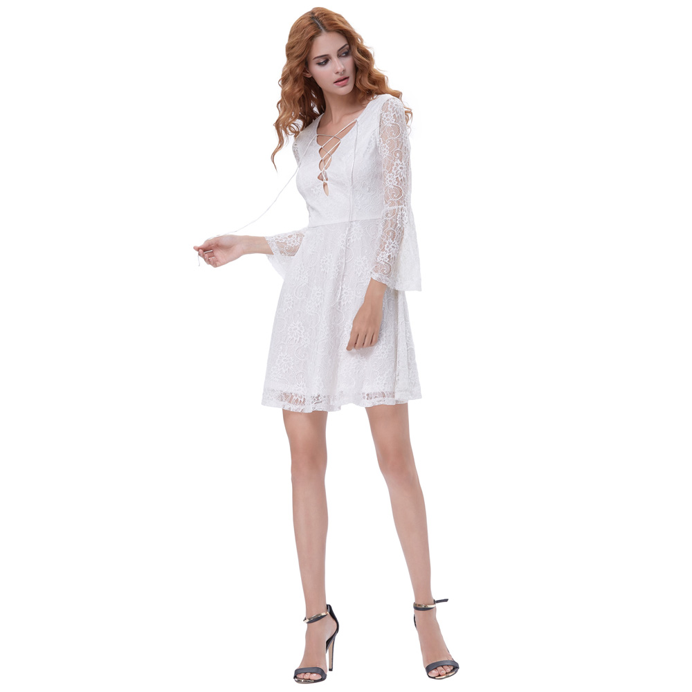 245057157803 Kate Kasin Bell Sleeves Short Evening Dress 2018 V Neck Lace Prom Dresses  Girls White Bride Formal Party Gowns Vestido de Festa-in Evening Dresses  from ...