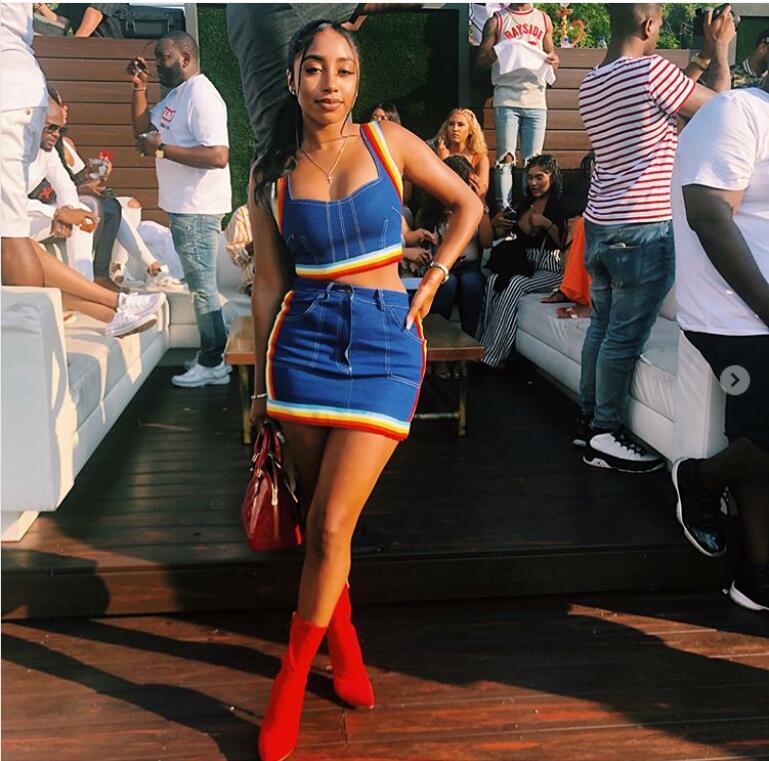 d285e6e683f1a3 KGFIGU Two Piece Set 2018 Summer women crop tops and Mini Skirts Sets 2pcs  Blue Denim