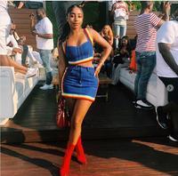KGFIGU Two Piece Set 2018 Summer women crop tops and Mini Skirts Sets 2pcs Blue Denim outfits 2 piece set women matching sets