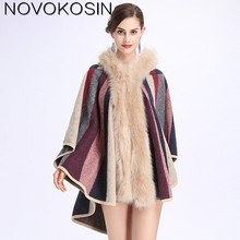 Women Party Overcoat Cloak 2018 Long Winter Faux Fox Fur Knitted Cardigan Cape Cashmere Sun Flower Poncho With Hat