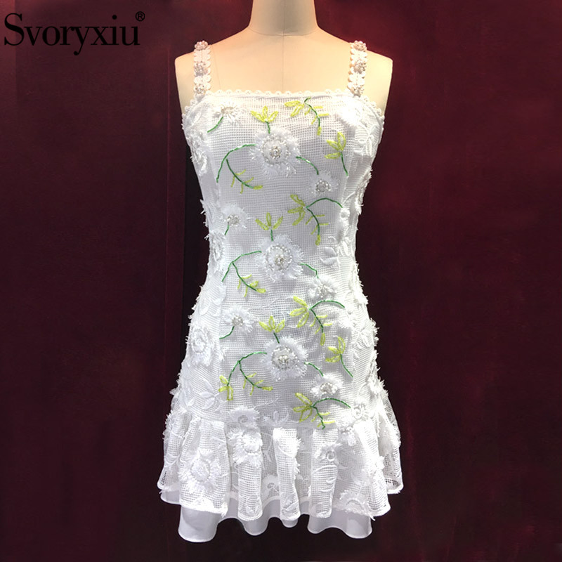 Svoryxiu Sexy Hollow Out Embroidery White Strap Dress women s Beading Holiday Party Runway Summer Spaghetti
