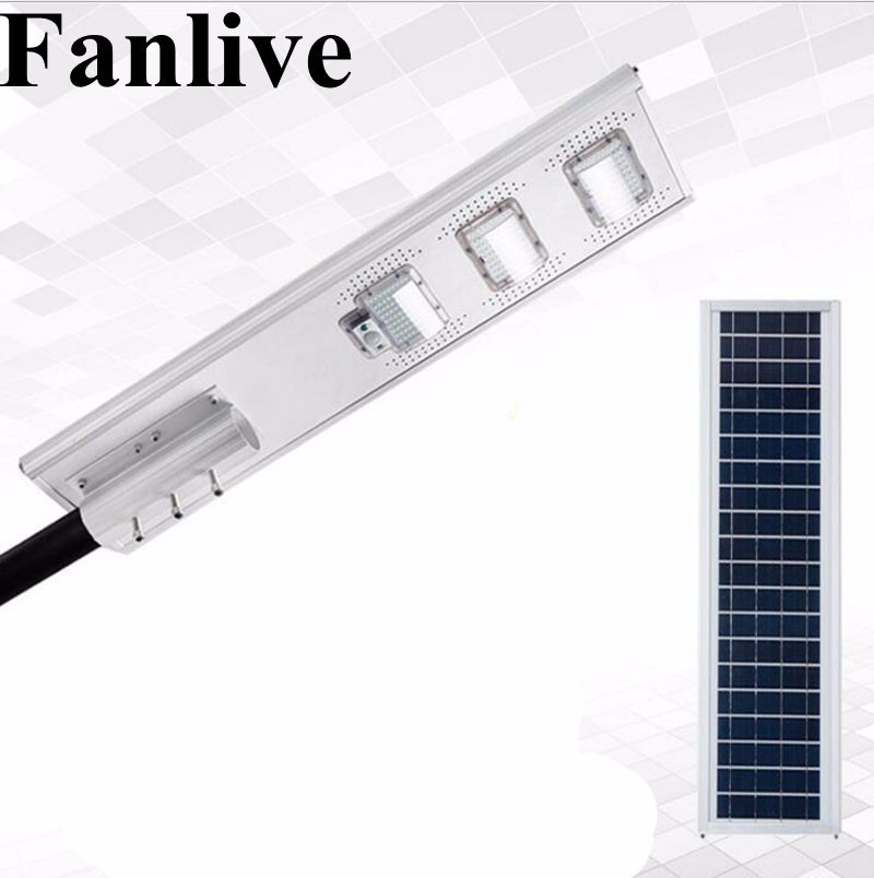 Fanlive 50w 100w 150w Integrated Led Lighting Solar Lamps Ed Motion Path Street Light Outdoor Waterproof Ip66 Pir Sensor