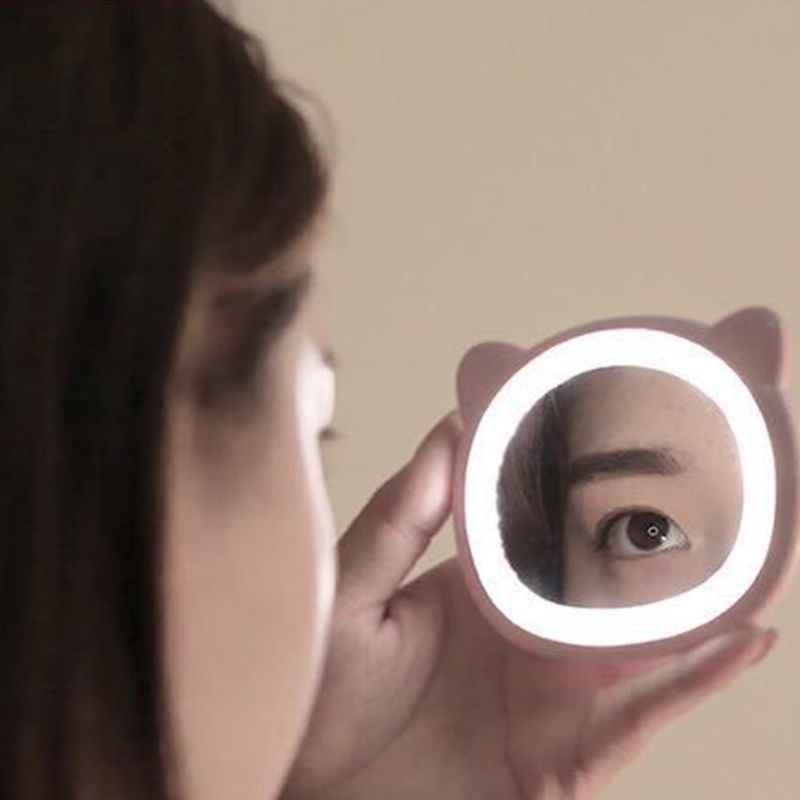 Portable USB Mini LED Makeup Mirror Cosmetic Cute Bear Hand Held Chargeable Darkness Light Travel