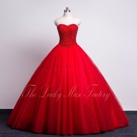 Sparkly Beaded Sweetheart Red Quinceanera Dresses Ball Gowns Tulle Girls 16 Year Birthday Party Dress 2018 vestidos de 15 anos