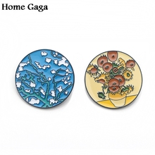 Homegaga Van gogh painting Sunflowers starry sky Zinc tie Pins backpack clothes brooches for men women hat badges medals D1616
