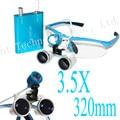 Popular Portátil azul CONDUZIU A lâmpada do farol e 3.5x320mm Abastecimento Dental Dentista Dental Lupas Binoculares 188039 Perfeita Qualidade