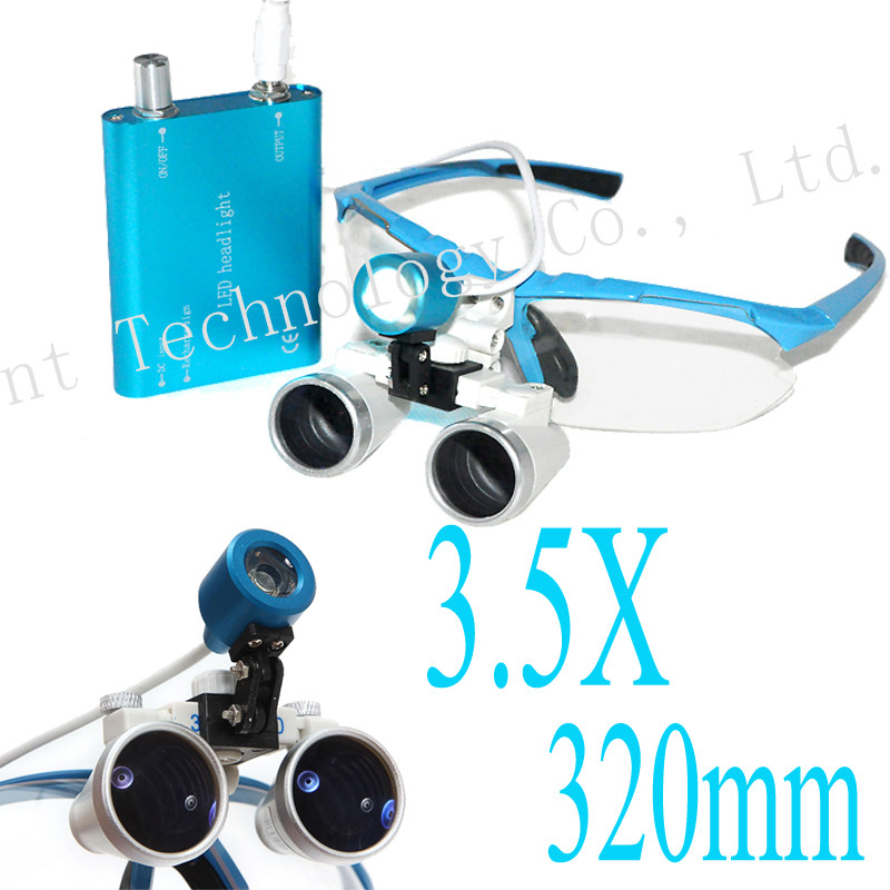 Popular Portable blue LED headlight lamp and 3.5x320mm Dentist Dental Loupes binocular 188039 Perfect Quality Dental Supply