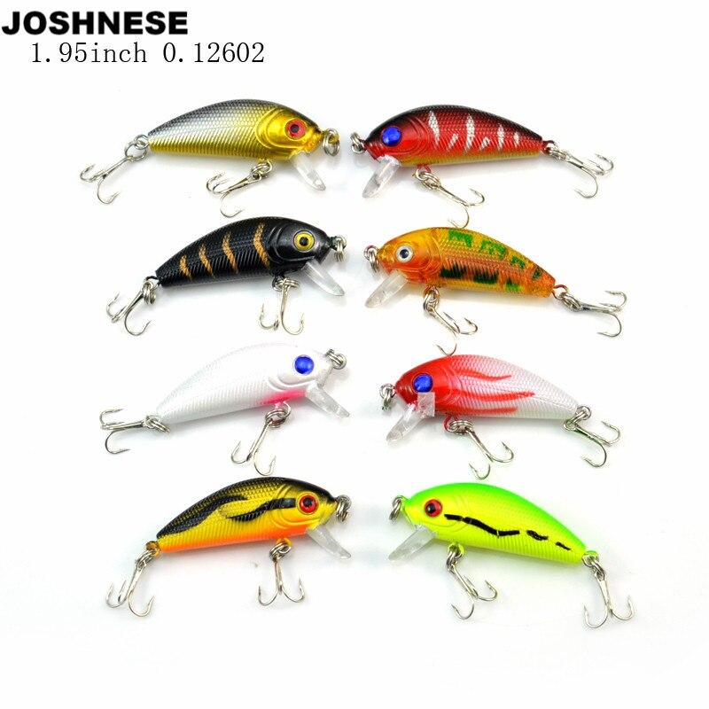 JOSHNESE 1 Pack 8Pcs 3.6g 5cm Carp Artificial Bait Fishing Lures Wobbler Fish Minnow Bass Lure Crankbait Trout Tackle Hook bort bsi 220s