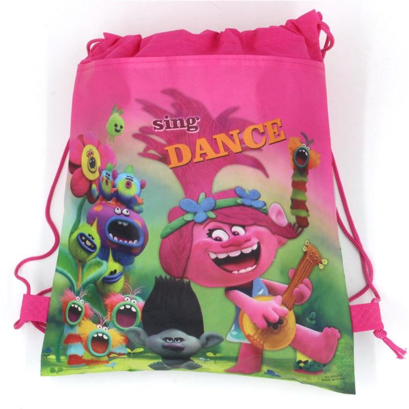 12Pcs Trolls Poppy Masks Girls Cartoon Kids Drawstring Printed Backpack Shopping School Traveling Bags Party Birthday Gifts
