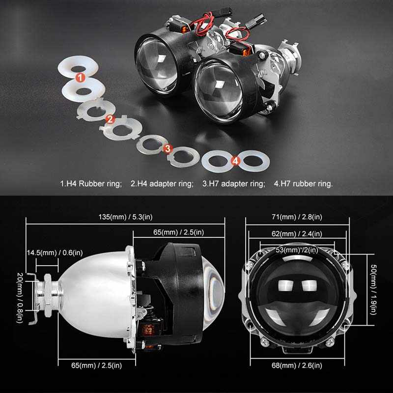 DJYJD 1 par de 2,5 Pulgadas Bi-xen/ón HID H1 Faros Lente del proyector reequipamiento Hi//de luz de Cruce de Repuesto para E46