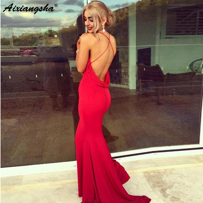 Sexy Red 2018   Prom     Dresses   Backless Spaghetti Strap Pink Party Maxys Mermaid   Prom     Dress   Long Evening Gown vestidos de fiesta