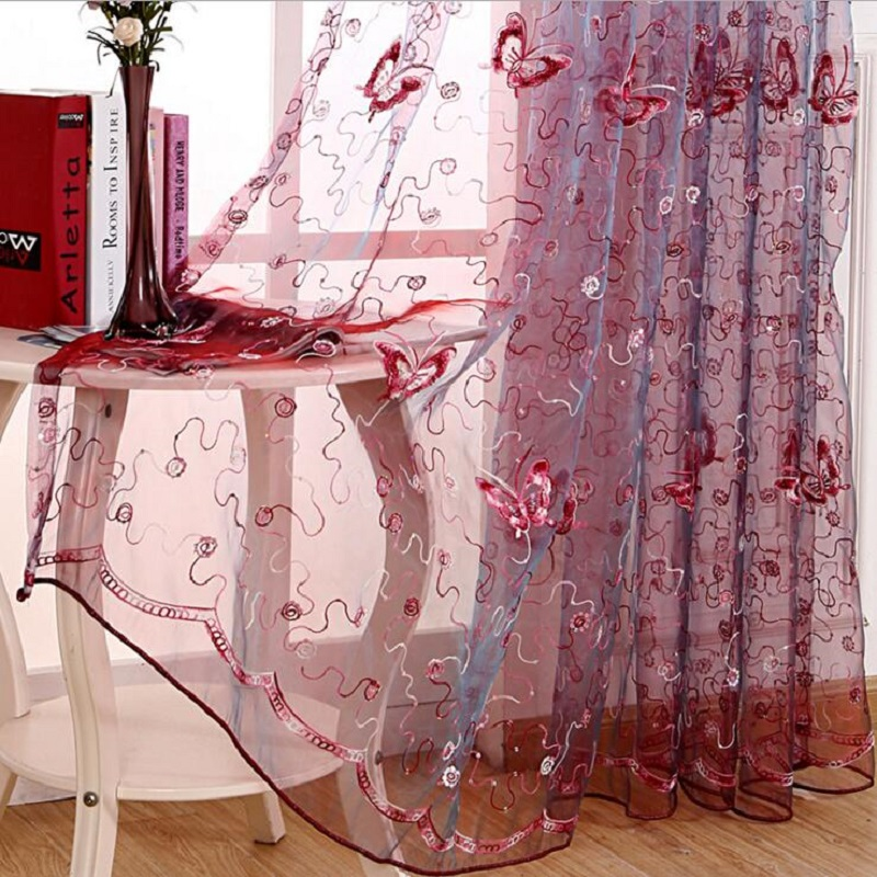 Romantic Modern Embroidered Sequins Butterfly Rustic Sheer Voile ...