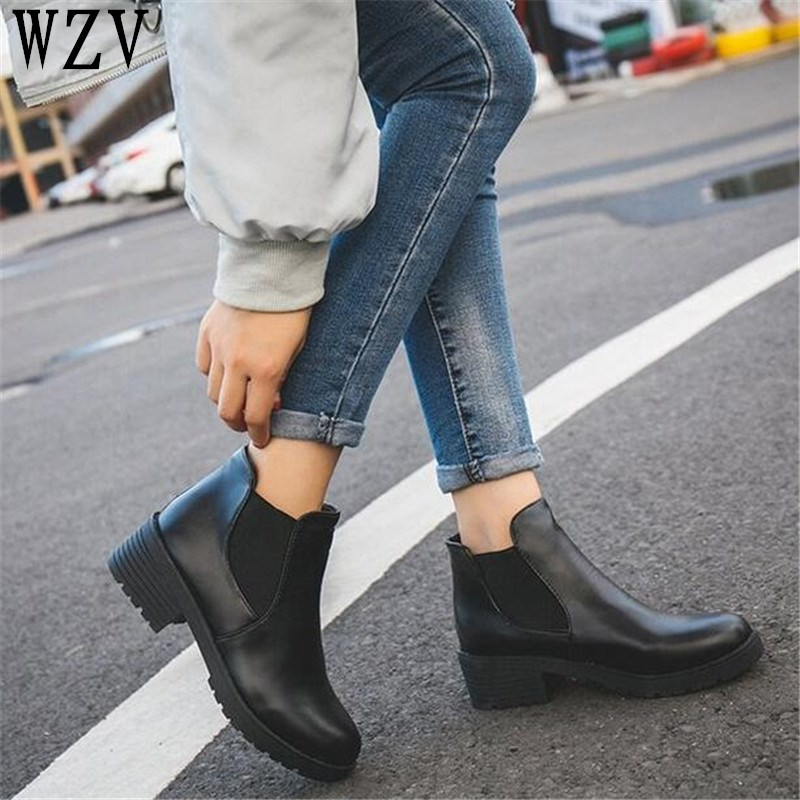 New Hot Style Fashion Women Boots Round Head Thick Bottom Pu Leather Waterproof Woman Martin Boots Ankle Spring/autumn E221 цена 2017