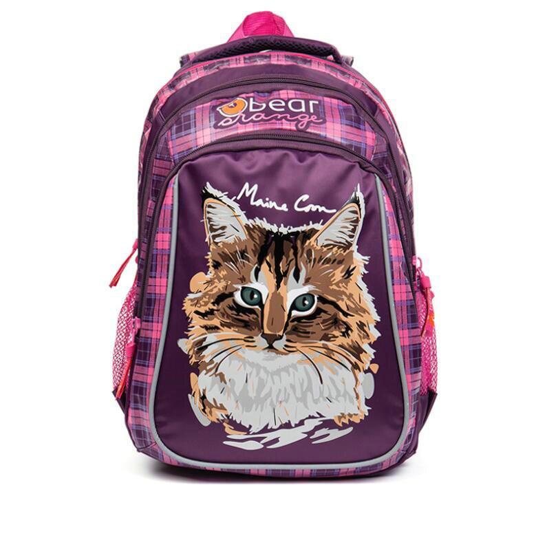 New 2018 Kids Backpack Cute Cartoon Cat School Bags Orthopedic Waterproof Children Primary Schoolbag for Girls Grade 1-4 unme children schoolbag for grade 1 3 girls backpack waterproof leather light for boy