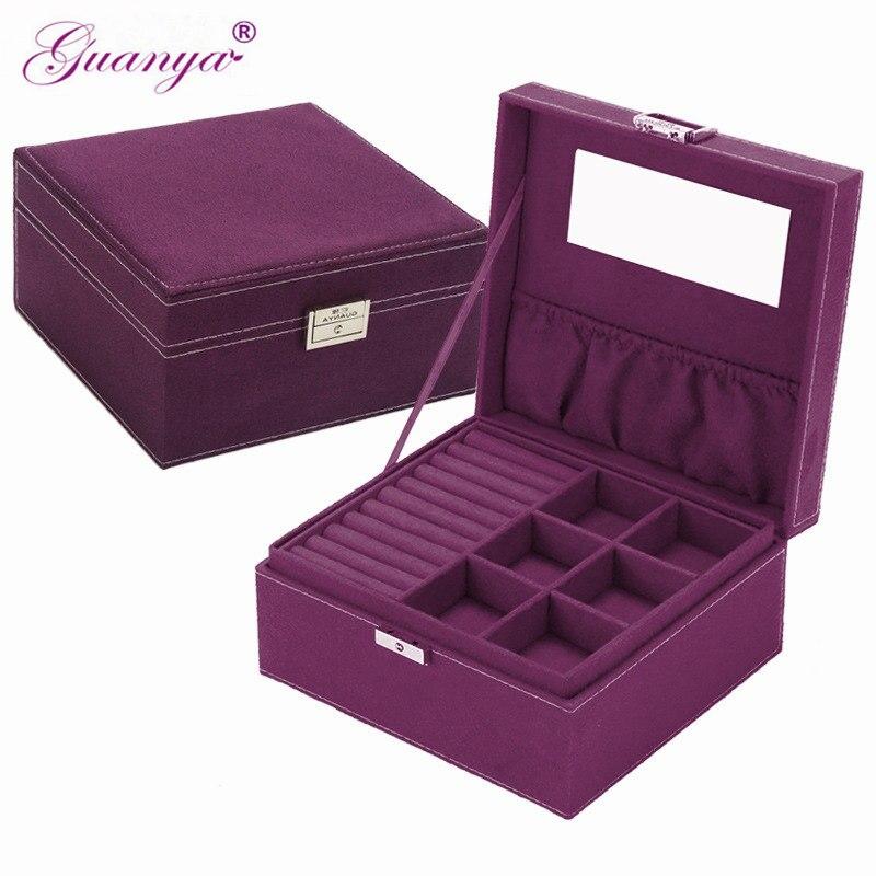 Guanya marca estilo 4 cor prático caixa de jóias de flanela caso Recipiente De Armazenamento de exibição de jóias brincos colar de pingente de Presente