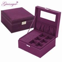 Guanya marka tarzı 4 renk pratik pazen takı kutusu takı ekran küpe kolye kolye saklama kabı vaka hediye