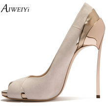 AIWEIYi Women Pumps 2018 Women's Shoes Summer Style Fashion Open Toe Stiletto Heels Metal Heel Slip On Ladies Party Dress Shoes