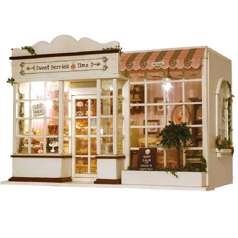 Kits de meubles miniatures pour maison de poupée en bois gâteau Dessert boutique modèle poupées à monter soi-même maison jouets pour enfants cadeau de musique d'anniversaire