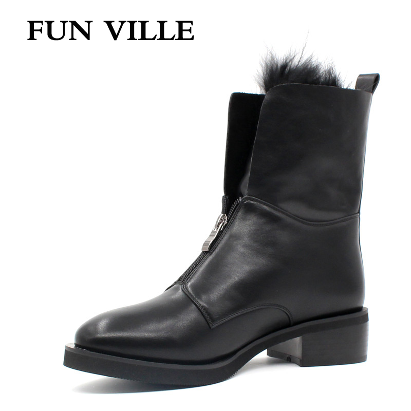 FUN VILLE 2017 Autumn winter Women Ankle Boots Hign quality Flat Martin boots black Round Toe