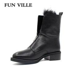 FUN VILLE 2017 Autumn winter Women Ankle Boots Hign quality Flat Martin boots black Round Toe Zipper Size 35-42