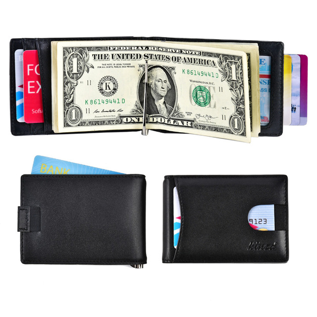 60e6b0eaac4a Mens Slim RFID Blocking Leather Front Pocket Money Clip Bifold Wallet  Genuine Leather Credit Card Case USD Version