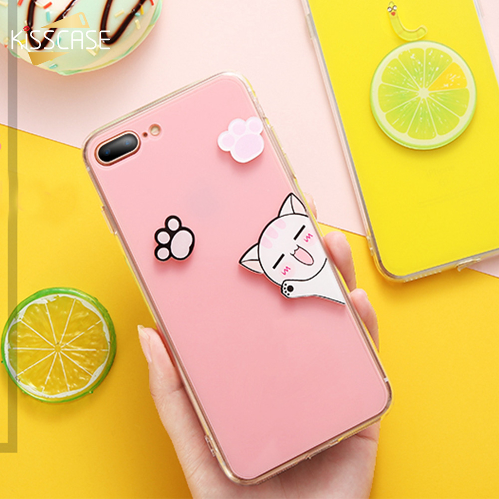 KISSCASE 3D Cartoon Cat Case For iPhone 6 6s Plus Cases Cute Fruit Animal Cover X 8 7 Back Patterned Coque