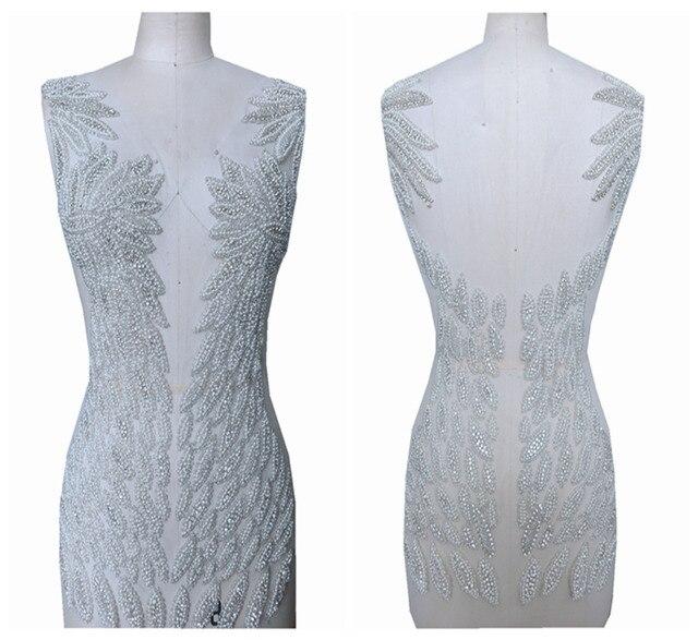 Handgemaakte kralen strass parel trim patches sew op applique 55*31 cm voor jurk voor en achter