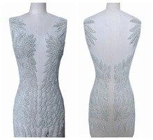 Perline fatti a mano di strass perla assetto patch sew on applique 55*31 centimetri per il vestito anteriore e posteriore