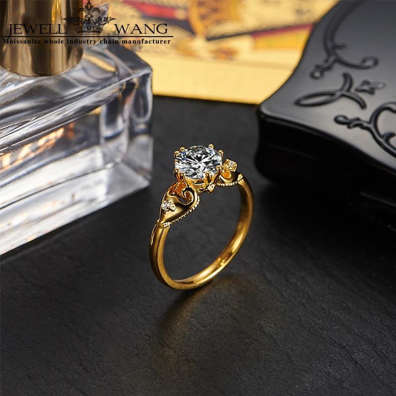 7065ae57aaef Jewellwang amarillo de 18 k anillos de oro 1.0ct quilates céltico 0.01ct de  lado diseño Original de Poker de anillos de compromiso para las mujeres en  ...
