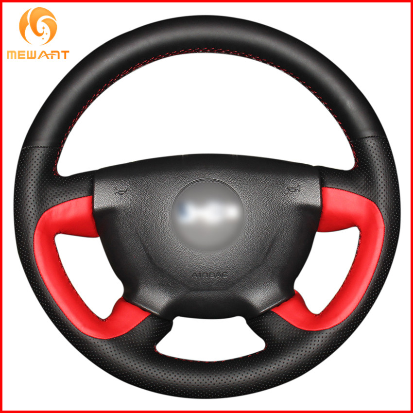 MEWANT Black Red Genuine Leather Car Steering Wheel Cover for Hummer H3 2005 H3x 2008 H3T