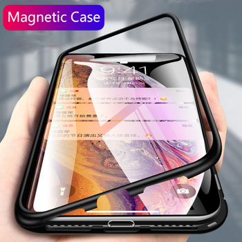 For iphone X Xs Max Xr case magnetic flip clear tempered glass back cover metal frame protective coque for iphone 6 6s 7 8 plus iphone xr case magnetic