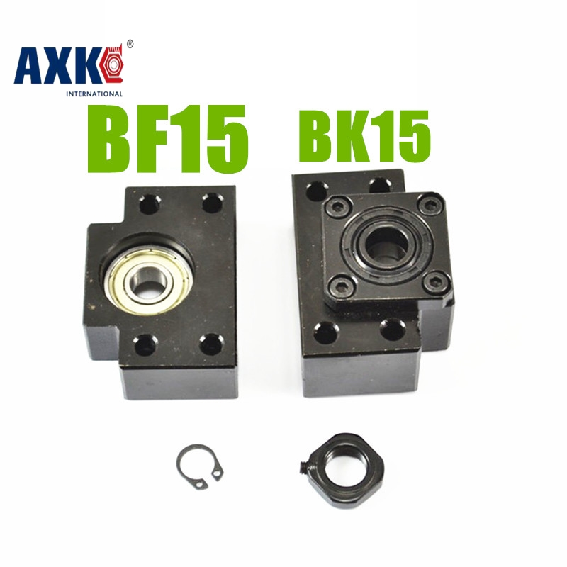 AXK BK/BF15 end support unit  for SFU2005 ballscrew 1pc BK15 fixed side +1pc BF15 floated side 1set fixed side fk12 floated side ff12 ball screw end supports
