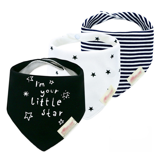 3pcs/lot 100% Cotton High Quality Babadores Baby Bibs Bandana Lot Para Bebe Infant Saliva Towel for Boys and Girls 1