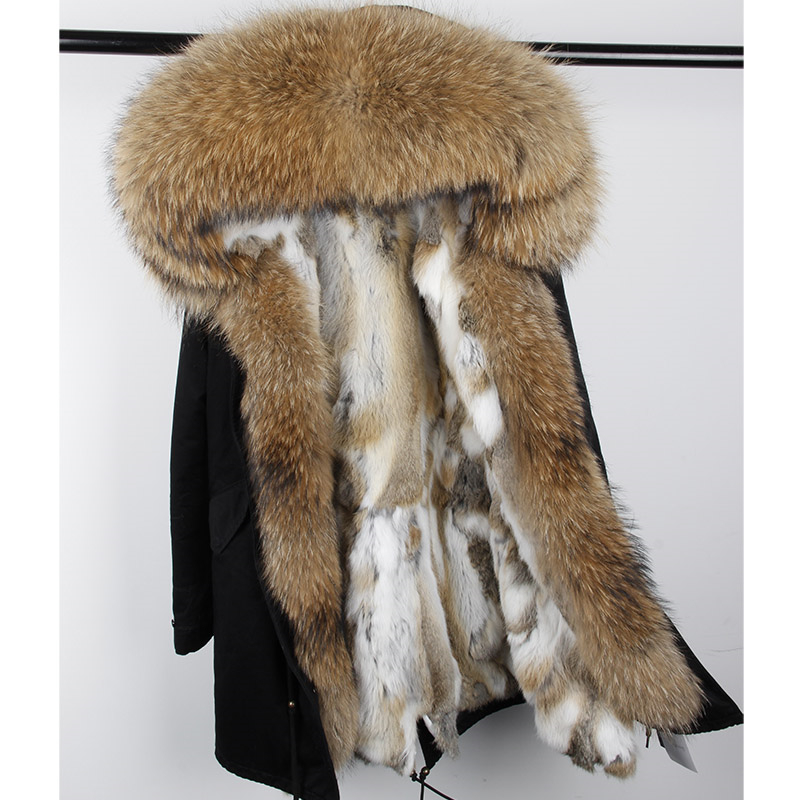 Detachable winter jacket women new long parka rabbit fur coat big raccoon fur collar hooded parkas thick outerwear stree style 2017 winter new clothes to overcome the coat of women in the long reed rabbit hair fur fur coat fox raccoon fur collar