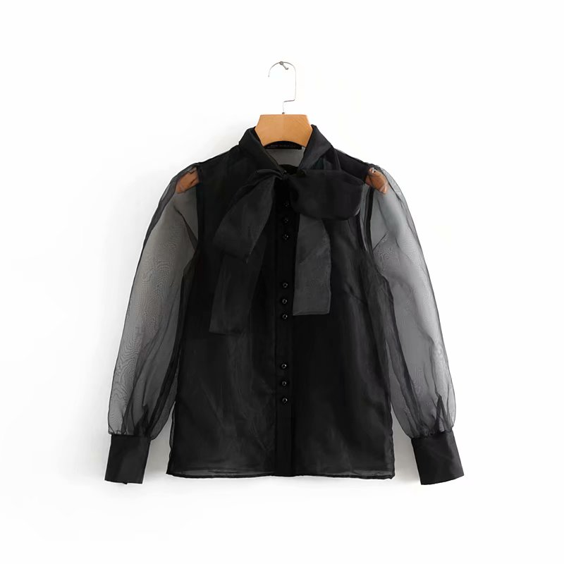 women vintage sexy transparent bow tied collar casual black organza   Blouse     shirt   women business Feminina Blusas chic tops