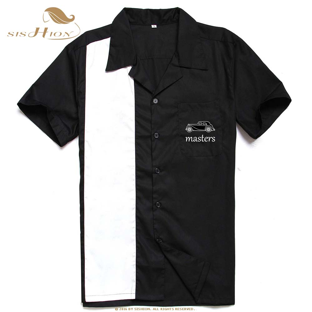 SISHION L-3XL Plus Size Men Shirt ST126 Short Sleeve Black Red Rockabilly Bowling Cotton Casual Shirts for Men camisa masculina