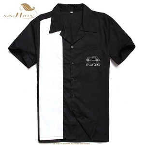 Image 4 - Sishion L 3XL Plus Kích Thước Áo Sơ Mi Nam ST126 Nữ Tay Ngắn Đen Đỏ Rockabilly Bowling, Thời Trang Áo Sơ Mi Nam Camisa Masculina
