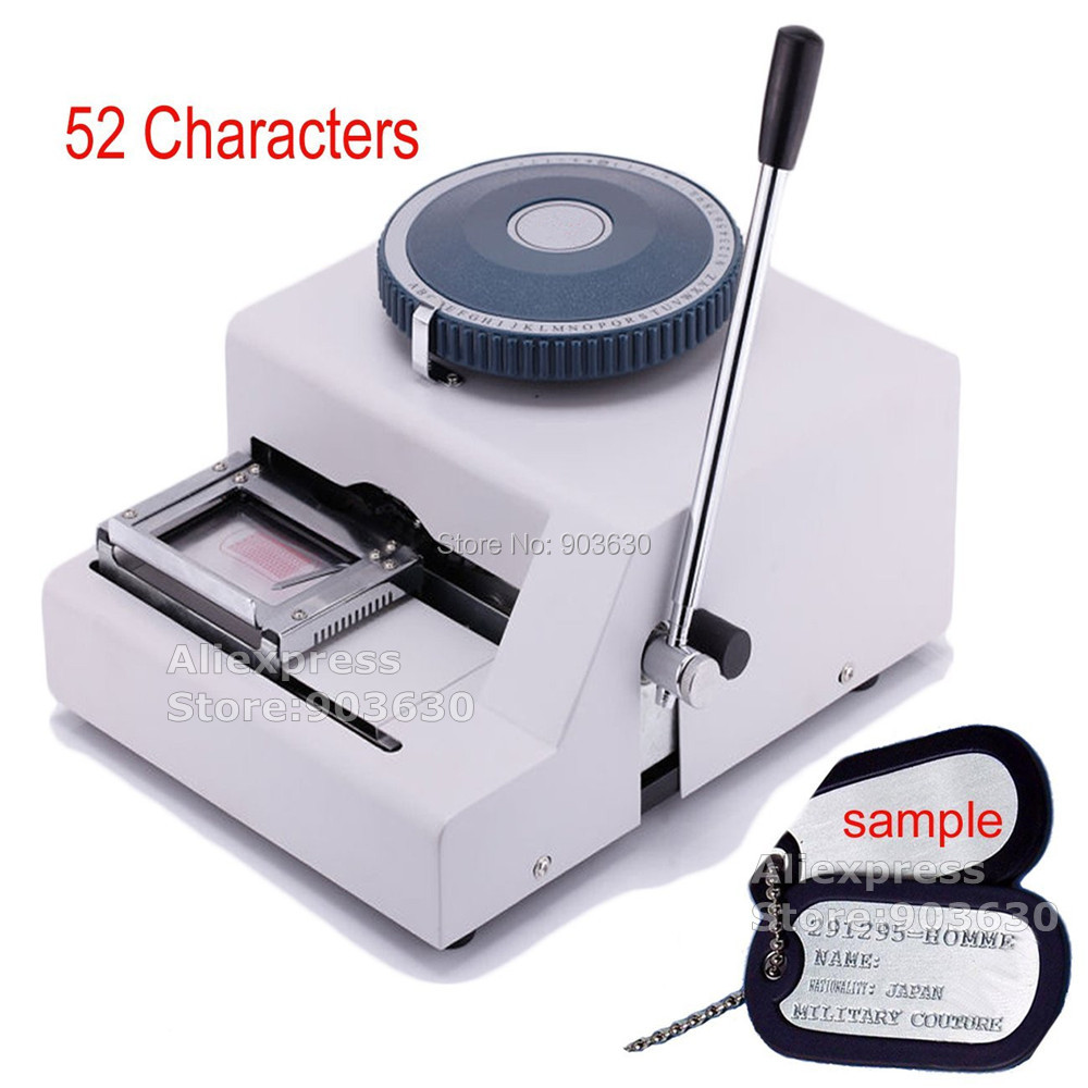 Самые низкие цены! 52 товара Dog tag тиснения, руководство GI военные Сталь металлическая собака теги Embosser ID Card Printer Машина