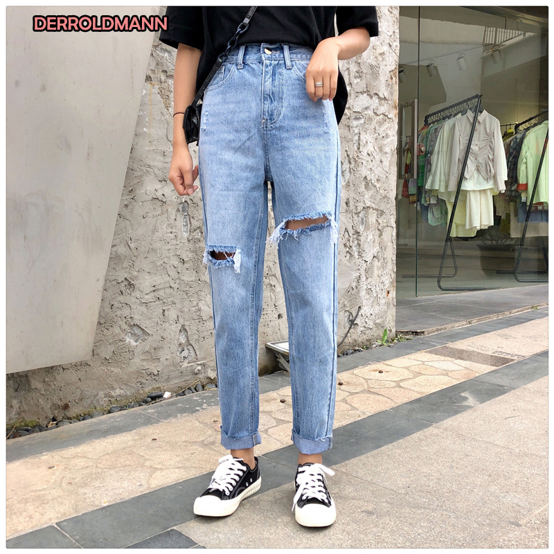 High Waist Summer Ripped Jeans For Women Straight Denim Broken Boyfriend Jeans For Women Torn Pants