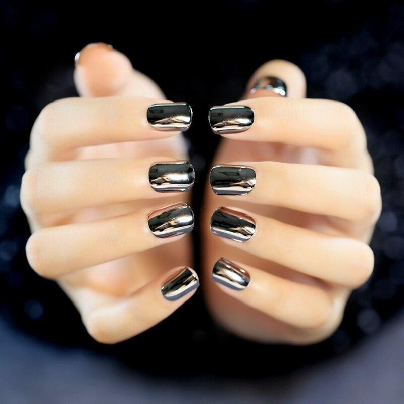False Nail Tips Deep Grey Metallic Top Acrylic Nails