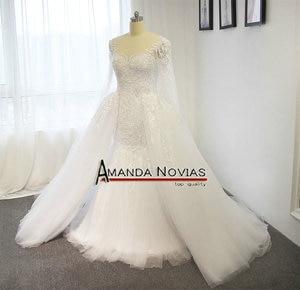 Image 4 - Amanda Novias Real Photos 100% Mermaid Lace Wedding Dress With Detachable Train