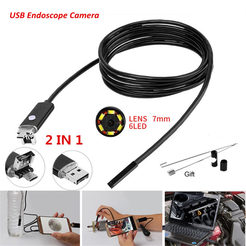 Mini USB Endoscope Camera Waterproof Soft Wiring Car Camera 6LED 720P Security Camera For Android Phone PC Notebook