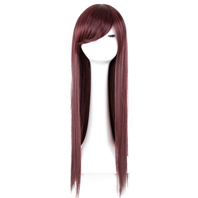 Salon Oblique fei show burgundy wig synthetic heat resistant fiber long straight