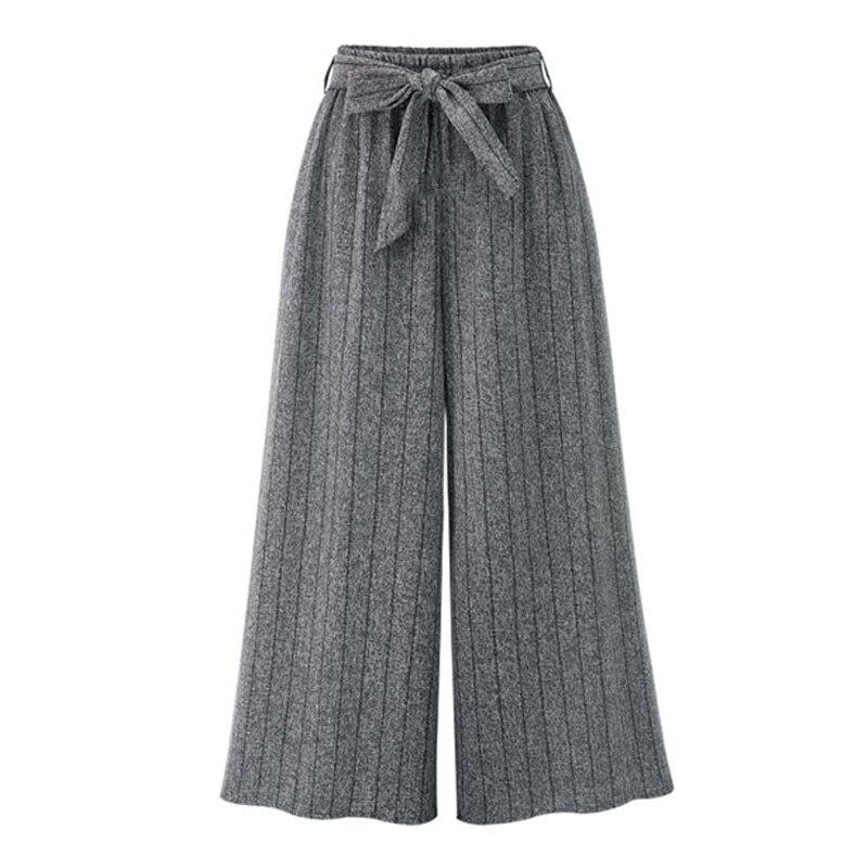 Autumn Winter New Cotton Women Plus Size Pants Wide Leg Elastic Waist Belt Lace Up Long Pants Loose Ladies Femme Fashion Trous