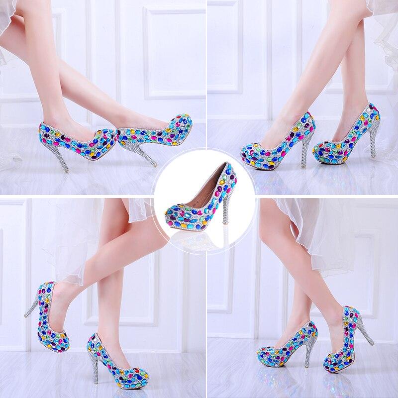 colorful Colorful 10cm Femmes Sexy Partie Super forme Pompes Plate Haute Rond Mariage Chaussures 14cm Cristal Heel De 12cm Glissement Heel Sur Corlorful Mariée Bout Des Strass Talon Rn8qgwfRS