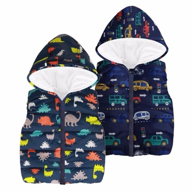 07a32f511b3b1 Çocuk Giyim Bebek Erkek Yelek Ceket 2019 Sonbahar Çocuk giyim Çocuk Yelek  dinozor Kolsuz Çocuk Kapşonlu