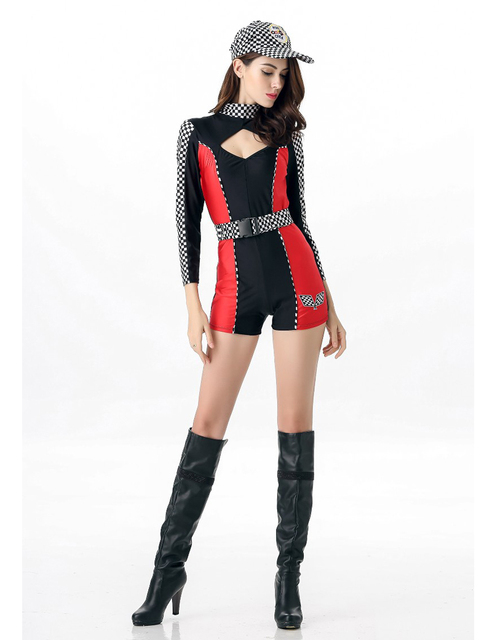 MOONIGHT M L XL Sexy Miss Super Car Racer Racing Costume Driver Grid Girl Prix Fancy Costume Jumpsuits+Hat+Belt 5
