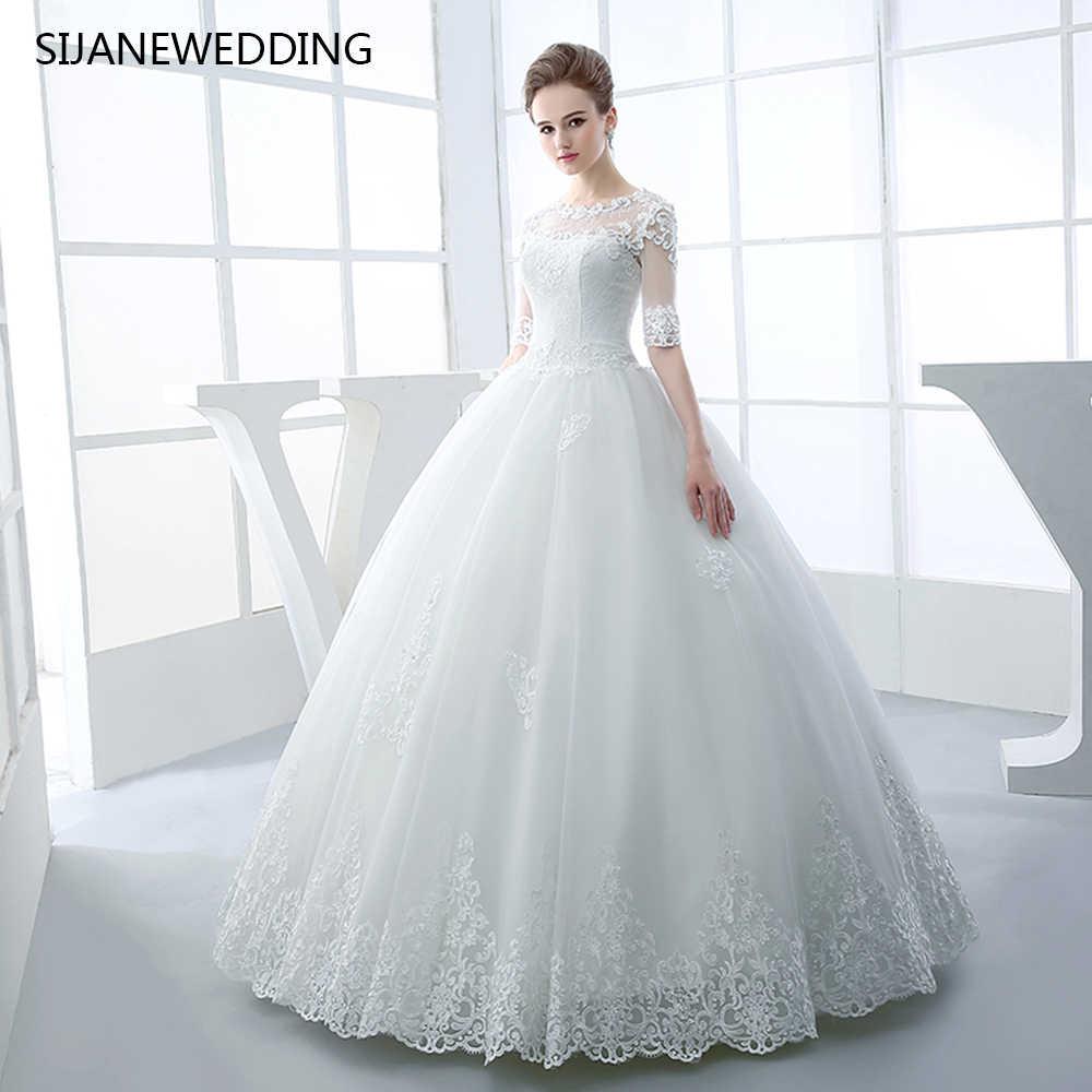 77633fde3 SIJANE Vestidos de Noiva Простой бальное платье свадебное платье  выполненный на заказ Длинные рукава Принцесса свадебное