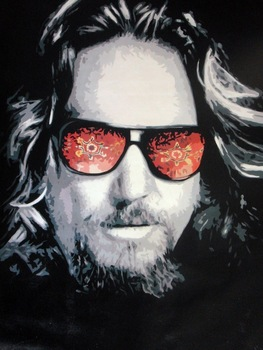 100% Hand-painted Big Lebowski popart style Oil Painting 30x20 NOT a print or poster Framing